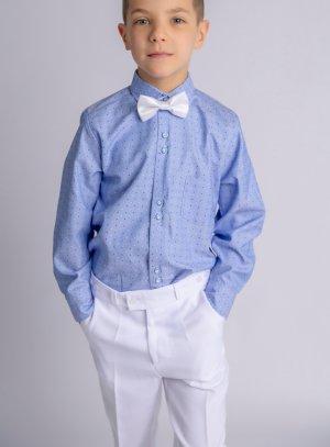 Costume / tenue enfant pour mariage blanc et bleu