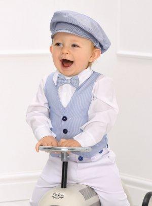 Costume bébé et petit garçon pour mariage ou baptême blanc et bleu