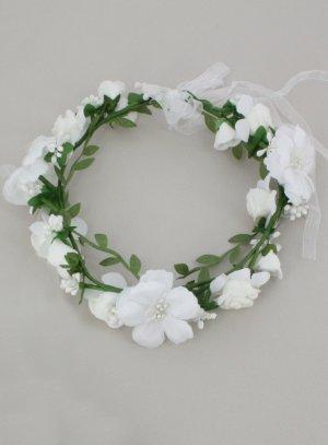 Couronne de fleurs blanches pour demoiselle d'honneur