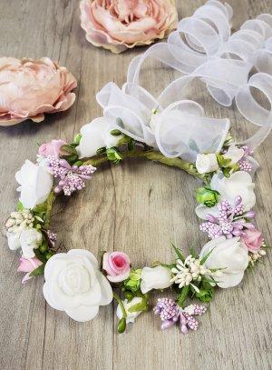 Couronne baptême bébé fille blanche fleurs perles