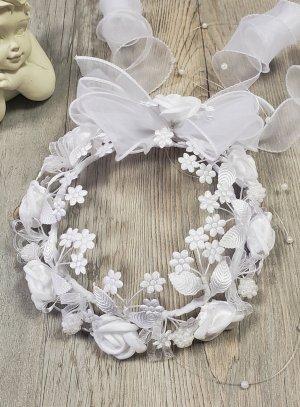Couronne de baptême bébé fille blanche fleurs dôme