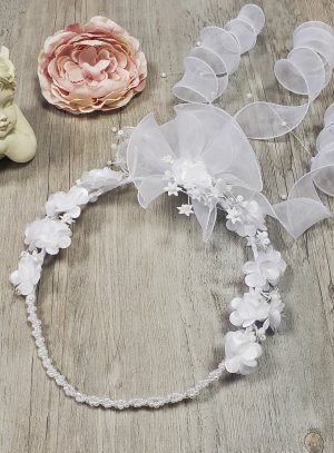 Couronne de communion pointe blanche perle ruban organza