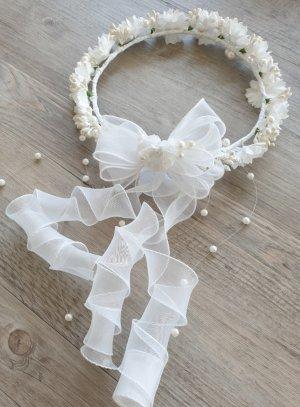 Couronne de communion ronde blanche fleur strass ruban organza