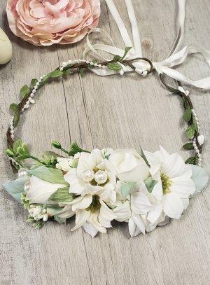 couronne de fleur coiffure cérémonie mariage femme ou enfant ivoire