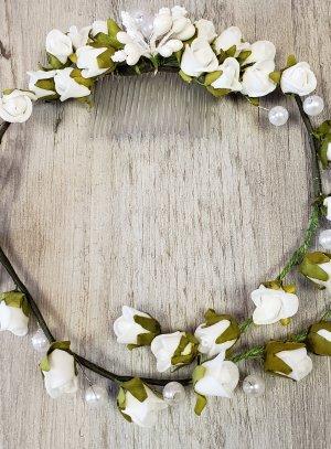 couronne de fleur pour mariage ou communion fleurs blanches