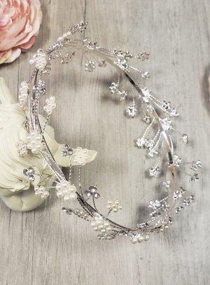couronne chignon large argentée avec perles et strass