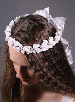 couronne de fleurs blanche et rose pour enfant