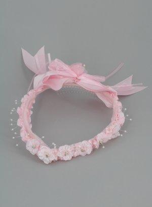 couronne pointe rose coiffure communion mariage enfant