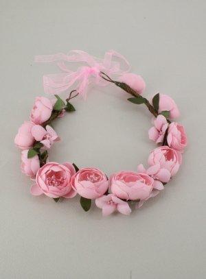 couronne pour cheveux avec fleurs rose