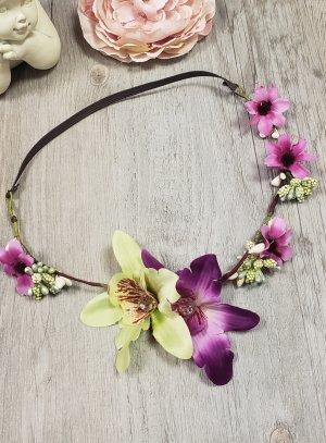 Couronne de fleurs vert anis et rose fushia avec élastique au dos