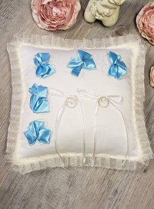 Coussin pour alliances écru ruban noeud bleu