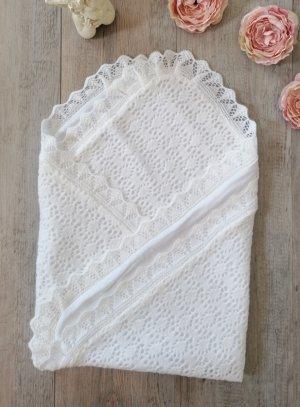 Couvertur de baptême blanche bébé tricot et coton