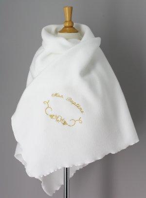 linge blanc baptême or