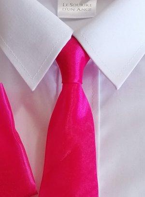 Cravate enfant rose fushia organza avec pochette tissu