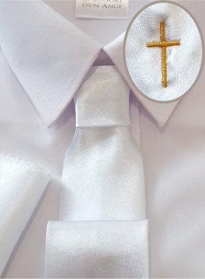 Cravate enfant blanche avec croix or
