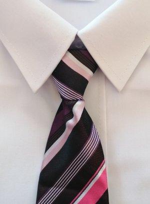 Cravate enfant noir rayé rose fushia