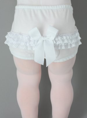 culotte bapteme bebe fille blanche noeud