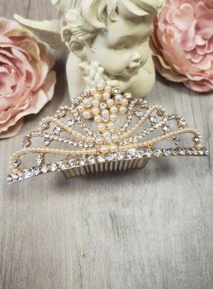 diadème mariage doré avec strass et perles et pas cher