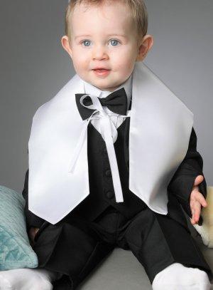 étole de baptême satin blanc bébé fille ou garçon