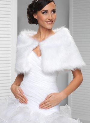 Étole cape femme blanche pour mariage fourrure poil long