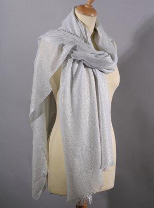 étole foulard femme pour cérémonie mariage soirée gris blanc