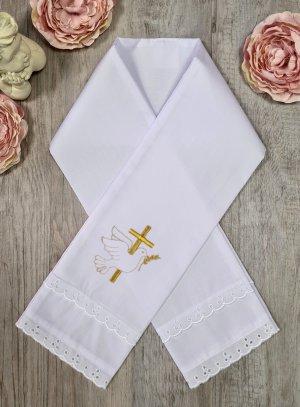 Étole baptême bébé coton Croix et Colombe or doré