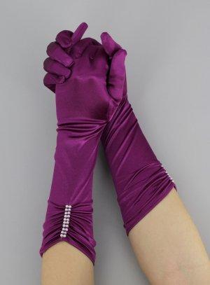 gant satin violet pour femme gant de soirée
