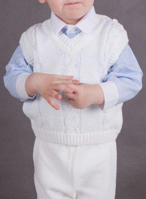 cape de baptême et gilet blanc