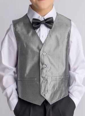 Gilet veston costume enfant satin tissé gris argent