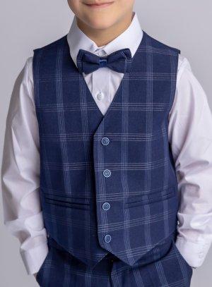 Gilet veston de cérémonie bleu marine écossais pour garçon
