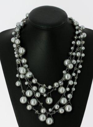 gros collier perle gris - bijoux de soirée fantaisies et pas cher