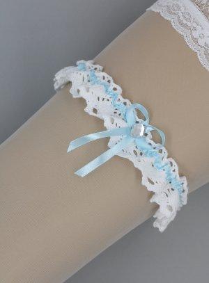 jarretière blanche en coton crochet
