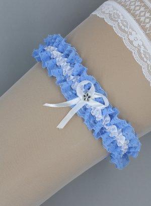 jarretière dentelle bleue blanche vintage
