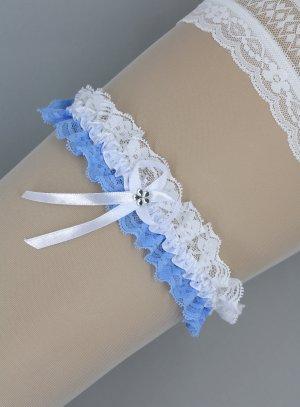 jarretière dentelle blanche et bleue