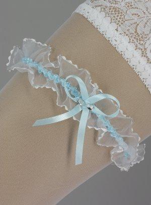 jarretière bleue et blanche pour mariée