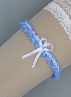 jarretière bleue et blanche en dentelle