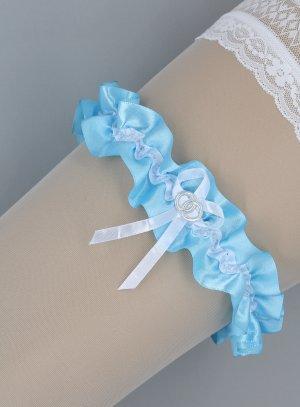 jarretière en satin bleu et blanc