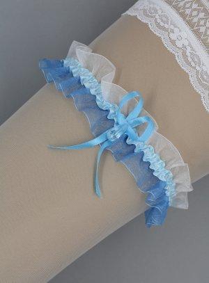 Jarretière bleue et blanche