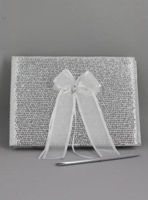 porte alliance, stylo et livre d'or... gris argent