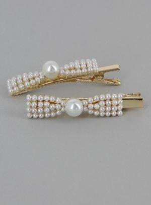 Pinces pour mariage cérémonie ou soirée forme noeud en perles