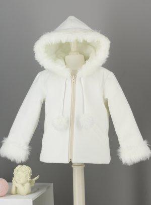 manteau chaud baptême bébé fille écru