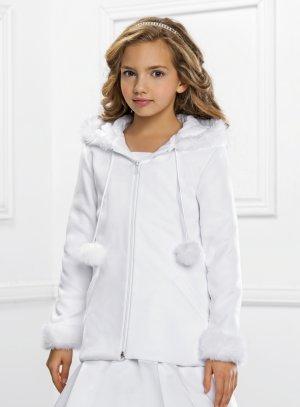 manteau cérémonie hiver fille blanc communion baptême mariage