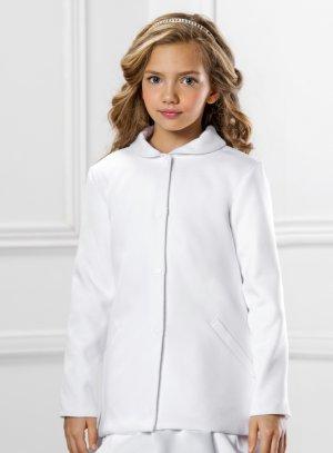manteau fille pour cérémonie mariage communion d'hiver blanc