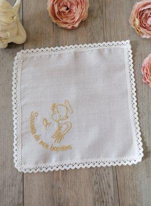 mouchoir baptême coton blanc broderie ange doré