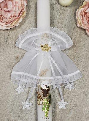 Noeud décoration bougie baptême ange or