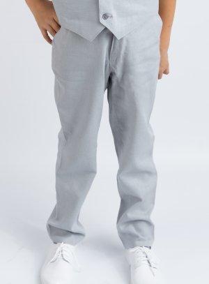 Pantalon en lin gris bleu garçon pour tenue mariage cérémonie été