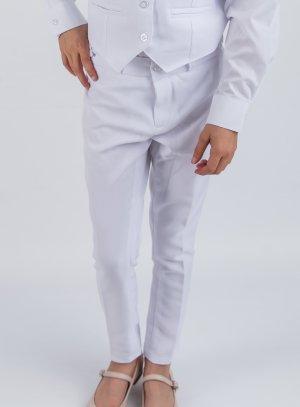 Pantalon fille blanc pour mariage ou communion.