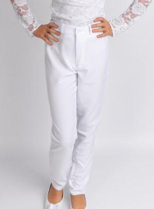 Pantalon fille taille haute blanc pour les cérémonies, mariage.