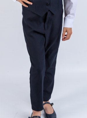 Pantalon fille taille haute bleu marine mariage uniforme scolaire.