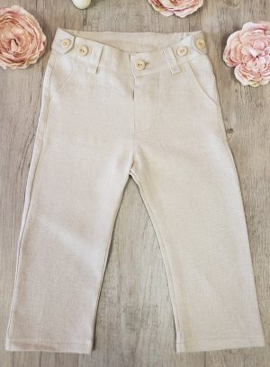 Pantalon lin beige pour bébé et petit garçon